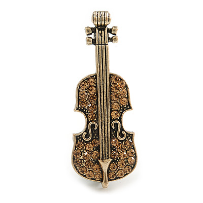 Vintage Inspired Aged Gold Tone Light Topaz Crystal Violin Musical Instrument Brooch - 45mm Tall