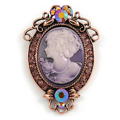 Vintage Inspired Purple Crystal Oval Lilac Acrylic Cameo In Bronze Tone Metal - 65mm L