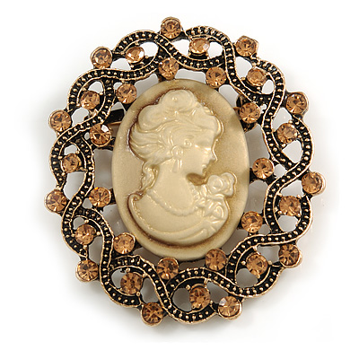 Vintage Inspired Topaz Crystal Beige Cameo Brooch In Aged Gold Metal - 50mm Tall