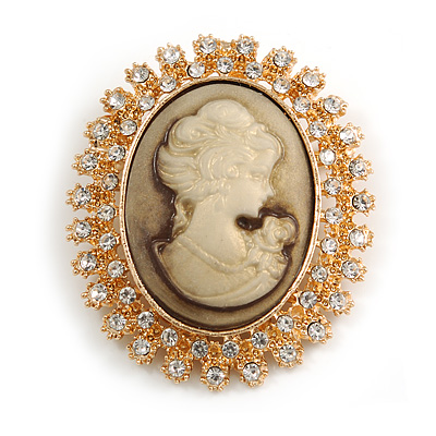 Vintage Inspired Clear Crystal Oval Beige Acrylic Cameo In Gold Tone Metal - 45mm L