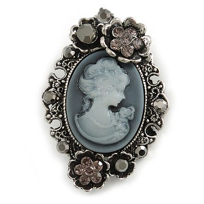 Vintage Inspired Grey/ Hematite Diamante Cameo Brooch in Aged Silver Tone  - 55mm Long