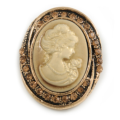 Vintage Inspired Citrine Crystal Oval Beige Acrylic Cameo In Aged Gold Tone Metal - 45mm L