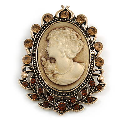 Vintage Inspired Amber/ Citrine Crystal Oval Beige Acrylic Cameo In Aged Gold Tone Metal - 60mm L