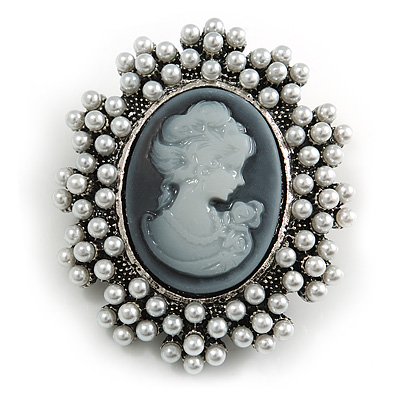 Vintage Inspired Faux Pearl Grey Cameo Brooch In Aged Silver Tone - 50mm L