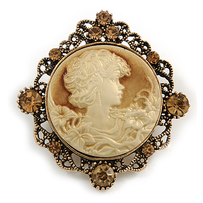 Vintage Inspired Topaz Crystal Round Beige Cameo Brooch In Aged Gold Metal - 50mm Tall