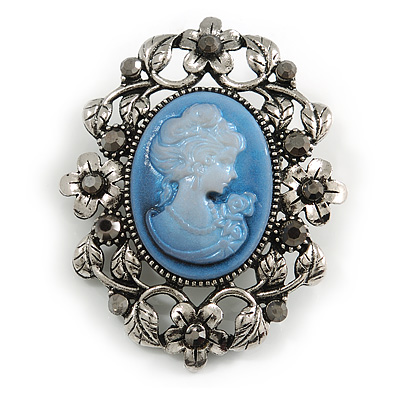 Vintage Inspired Hematite Diamante Blue Cameo Brooch in Aged Silver Tone - 55mm Long