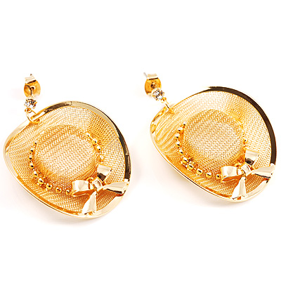 Gold Hat Earrings