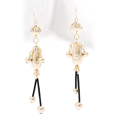 Gold Beaded Drop Earrings