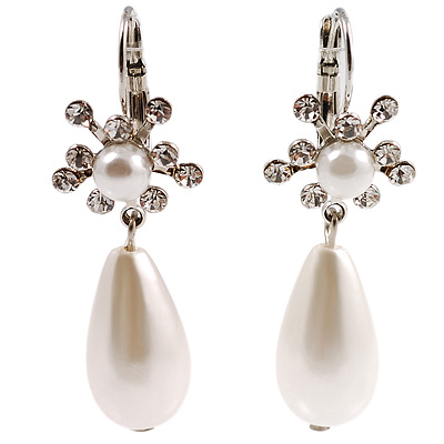Single Teardrop Faux Pearl Fashion Earrings - avalaya.com :  pearl silver teardrop earrings
