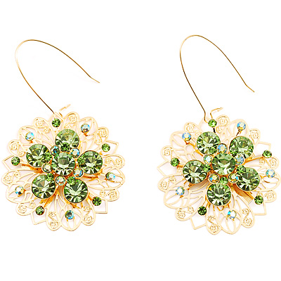Jumbo Lightgreen Floral Earrings - main view