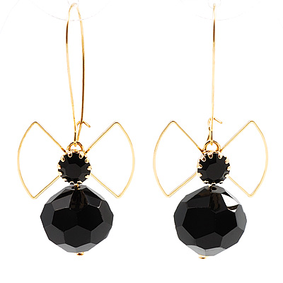 Jet-Black Bead Bow Earrings