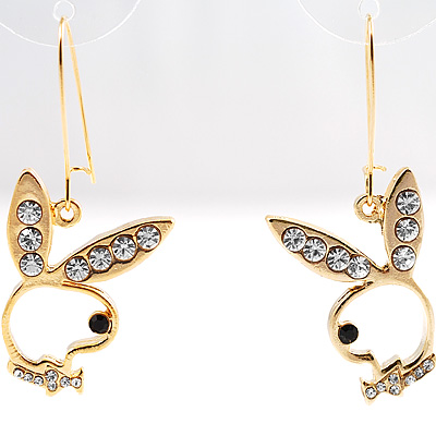 Gold-Tone Crystal Bunny Earrings