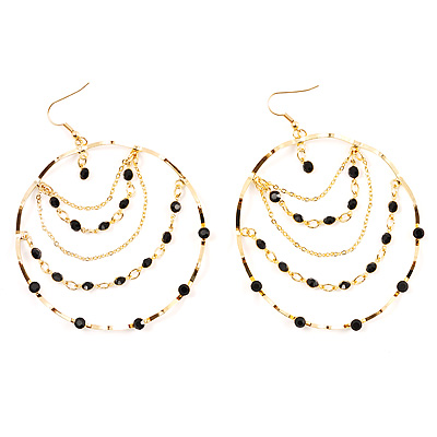 Gold Jet-Black Serpentine Costume Hoop Earrings