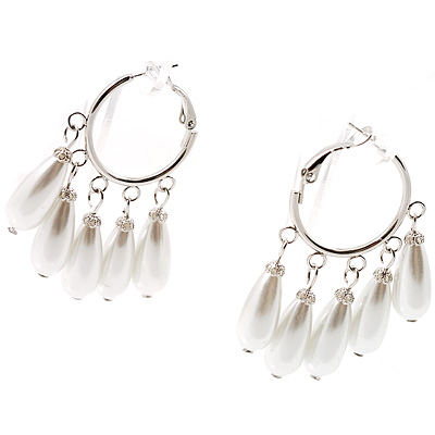 Light Cream FauxTeardrop Hoop Earrings