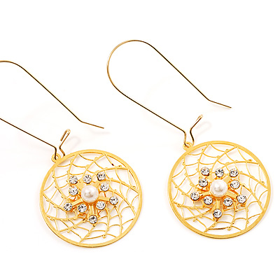 Gold Web Circle Earrings