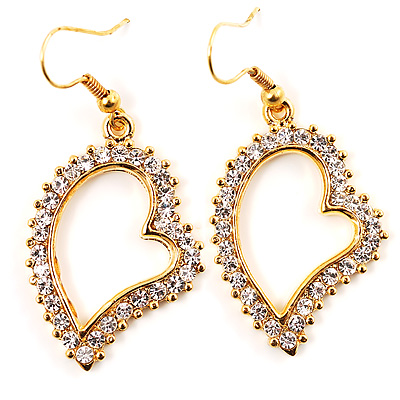 Open Crystal Heart Dangle Costume Earrings - avalaya.com