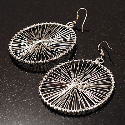Oversized Silver-Tone Wired Loop Earrings