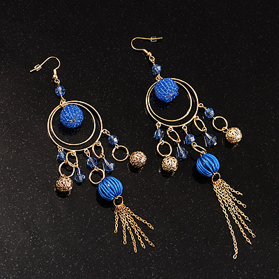 Romantic Blue Bead Gold Chandelier Earring - avalaya.com