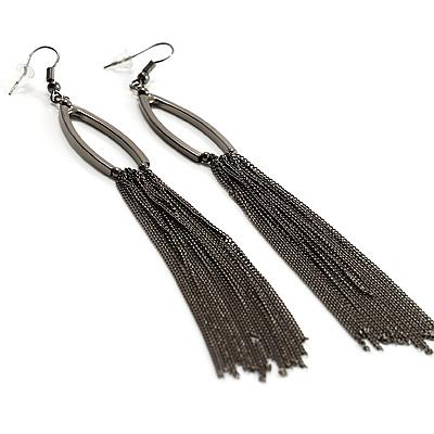 Long Tassel Earrings (Black) - main view