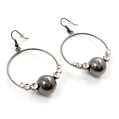 Black Tone Crystal Bead Hoop Earrings