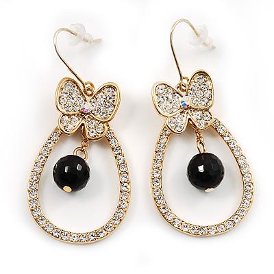 Clear Crystal Butterfly Hoop Earrings