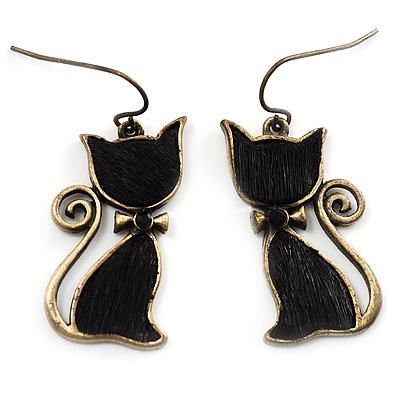 Brass Tone Cat Earrings - main view