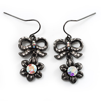 Crystal Bow Daisy Drop Earrings (Black & Clear)
