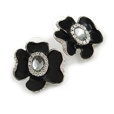 Black Floral Enamel Crystal Stud Earrings