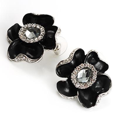 Black Floral Enamel Crystal Stud Earrings