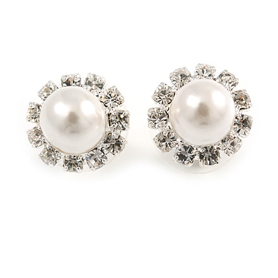 Snow-White Crystal Faux Pearl Stud Earrings - main view