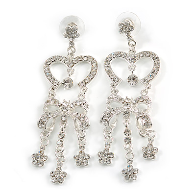 Clear Diamante Bow Chandelier Earrings