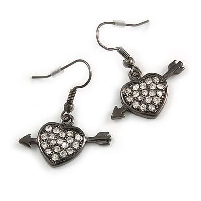 Black Tone Heart&Arrow Drop Fashion Earrrings