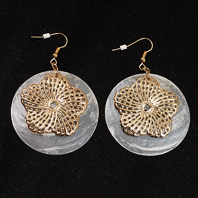 Round Shell Floral Earrings (White) - main view