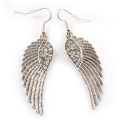 Silver Tone Clear Crystal Wing Earrings - 65mm L