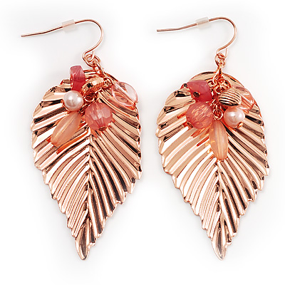 Copper Leaf&Bead Fashion Earrings - avalaya.com