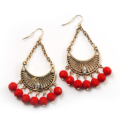 Antique Gold Red Bead Chandelier Earrings - avalaya.com