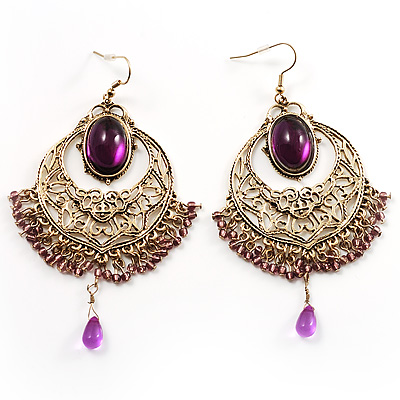 Antique Gold Filigree Chandelier Earrings (Purple) - avalaya.com