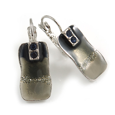 Small Square Enamel Glittering Drop Earrings (Grey)