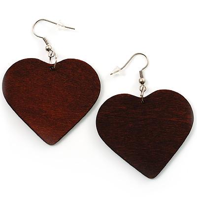 Brown Wood Drop Heart Earrings - main view