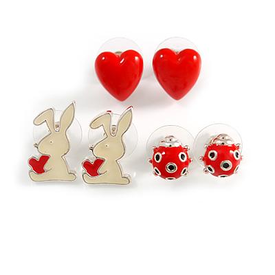 Silver-Tone Heart, Lady Bug & Bunny Stud Earring Set - main view