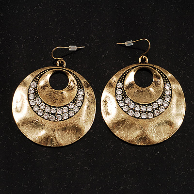 Antique Bronze Solid Crystal Drop Earrings - avalaya.com