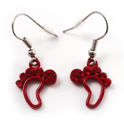 Red Diamante Feet Drop Earrings