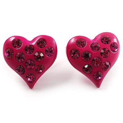 Magenta Crystal Metal Heart Stud Earrings