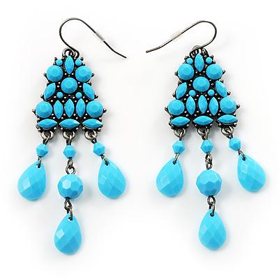 Turquoise Coloured Plastic Chandelier Earrings
