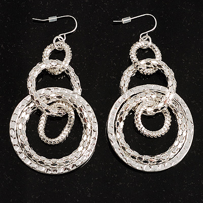 Long Mesh Hoop Earrings (Silver Tone)