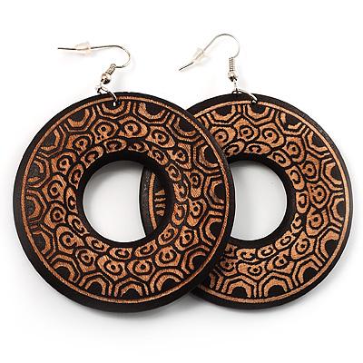 Large Ornate Wood Drop Hoop Earrings (Dark Brown&Cream) - avalaya.com