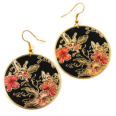 Japanese Style Floral Disk Earrings (Gold&Black) - main view