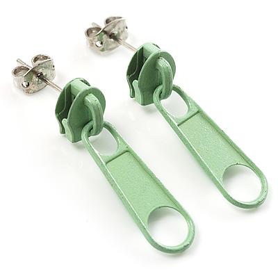 Small Light Green Metal Zipper Stud Earrings