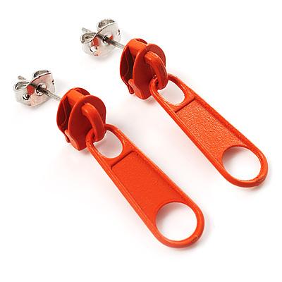 Small Orange Metal Zipper Stud Earrings