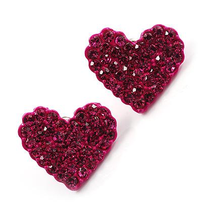 Deep Pink Swarovski Crystal Heart Stud Earrings - main view
